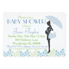 Blue Silhouette Baby Shower 5x7 Paper Invitation Card