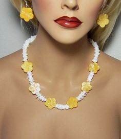 Necklace White Puka Shell Yellow Mother of Pearl Carved Flower Resort Jewelry http://etsy.me/11sADe4 via @Etsy #yellow #pukanecklace #hawaii #cruise #beach #resort #jewelry #yellowandwhite #necklace #pukashell