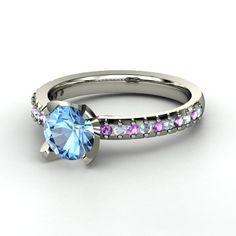 Round Blue Topaz 14K White Gold Ring with Aquamarine & Amethyst - lay_down