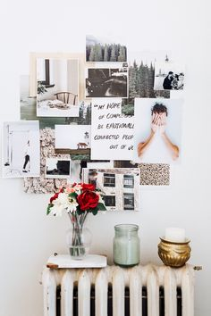 inspiration board with magazine clippings over vintage radiator with floral arrangement and candles. / sfgirlbybay