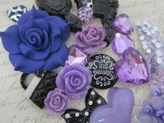 Sparkly Girly Embellishment Kit - Purple/Black by NatashaScrapbooKorner, $6.99 USD