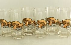 Vintage Couroc Glasses Barware Tumblers Gold Mushroom Mid Century Woodland Design
