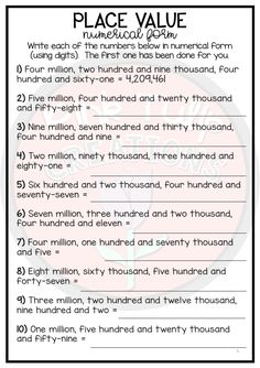 Place Value Into The Millions - Worksheet Pack Grade 5 Math Worksheets, Printable Math Worksheets, 5th Grade Math, Math Formula Chart, Math Olympiad, Teaching Place Values, Hindi Language Learning, All About Me Preschool, Expanded Form