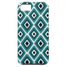 Stylish Turquoise Black Ikat Pattern iPhone 5 Case