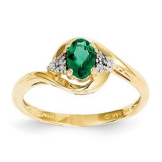 14k Yellow Gold 6x4 Oval Diamond & Genuine Emerald Ring SKU: QGXBS412 $165.99