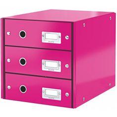 Leitz Click & Store Schubladenset 3 Schubladen Karton PP-laminiert LE331x 604800xx - pink metallic