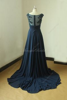 Backless Navy blue A line chiffon lace wedding dress with illusion neckline by MermaidBridal on Etsy https://www.etsy.com/listing/210356055/backless-navy-blue-a-line-chiffon-lace