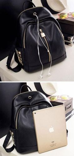 New Punk Black PU Lichee Pattern Rivet Zipper Headphone Hole College Backpack for big sale ! #punk #backpack #college #bag #rivet