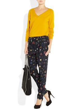 Stella McCartney wool and cashmere-blend sweater, pants, and bag