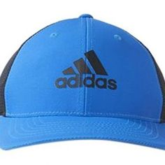 fa138f67f9c35 Adidas Golf 2016 Light Climacool Flex-Fit Hat Structured Mens Performance Golf  Cap Shock Blue Black Small Medium