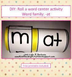Roll and word center activity using a toilet paper roll, this would go great with the Hippopotamus song in the first grade book