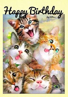 Happy Birthday Celebration, Happy Birthday Wishes Cards, Happy Birthday Flower, Happy Birthday Friend, Happy Birthday Pictures, Cake Birthday, Happy Birthday Wallpaper, Happy B Day, Cute Cats