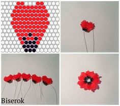 Do it yourself also known as DIY is the method of building modifying or repairing something without the aid of experts or professionals Seed Bead Flowers, French Beaded Flowers, Beaded Flowers Patterns, Beaded Jewelry Patterns, Bead Jewellery, Seed Bead Jewelry, Peyote Patterns, Beading Patterns, Poppy Pattern