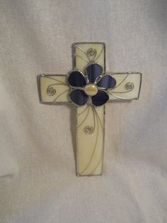 Stained Glass Cross Ivory Glass with Purple Flower by StewArtStuff, $19.95