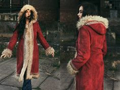 GROOVY 1970's style vegan fur coat with hood. Embroidered