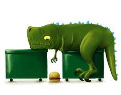 """Rompiendo la monotonia de mis retratos xD. Hungry dino is hungry. #ilustracion #illustration #splinter #dino #dinosaur #hamburguer #trash #short #arms"""