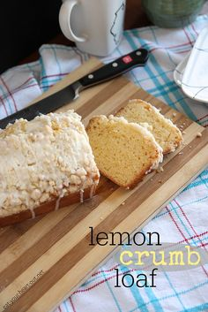 Lemony cake-like quick bread made with plenty of lemon zest and topped with a crunchy crumb topping and tart glaze.