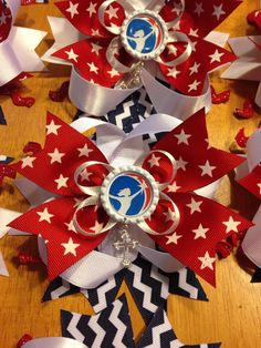 Hairbows for AHG Christmas awards ceremony. My husband and I made 54 of these! American Heritage Girls, Activities For Girls, 4th Of July Wreath, Special Events, Hair Bows, Badge, Projects To Try, Spirit Wear, West Palm