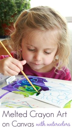 Melting Crayons Art on Canvas + Watercolor Resist - SO  beautiful!!