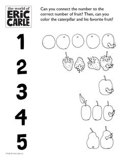(6) ACTIVITY: Connect the Fruit! Very Hungry Caterpillar Activity  #WorldEricCarle #HungryCaterpillar