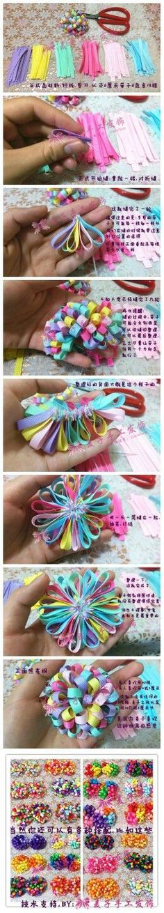 Discover thousands of images about DIY Clip Hair for Girls : DIY Ribbon Lush Bow Hair Ribbons, Diy Hair Bows, Making Hair Bows, Diy Bow, Ribbon Art, Diy Ribbon, Ribbon Crafts, Ribbon Bows, Hair Bow Tutorial