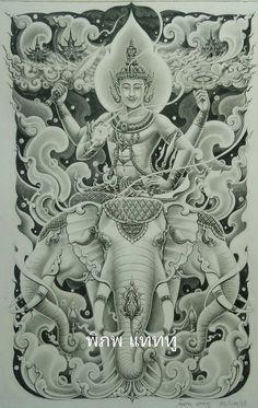 Khmer Tattoo, C Tattoo, Sak Yant Tattoo, Thai Tattoo, Tiger Tattoo Design, Tattoo Designs, Dragon Tattoo Colour, Thailand Tattoo, Buddha Buddhism