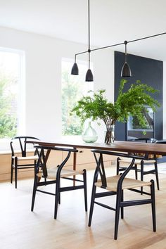 Hans Wagner Wishbone Chairs forever. Love this modern minimalist look! Shop this look at smartfurniture.com