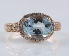 LeVian 14k Rose Gold 2ct Aquamarine 0 25ct Diamond Ring Size 7   eBay