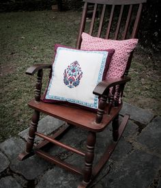 This classic block printed Sanganeri design will liven up any dull piece of furniture. Reversible with a red geometric print on the back with a top hidden zip. Cushion cover is and cotton. Rocking Chair, Cushion Covers, Cushions, Zip, Printed, Classic, Cotton, Furniture, Design