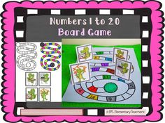ESL numbers 1 to 20 board game. You can print the color version or use the black and white, which I prefer. Dictate the color every two numbers. Teacher:: Color Number 8 and 18 yellow. Number Flashcards, Spelling Practice, Teaching Materials, Teaching Ideas, Teaching Numbers, Set Game, English Language Learners, Small Cards, Game Pieces
