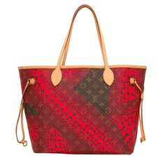 Louis Vuitton Red Monogram Kusama Waves Neverfull MM - Louis Vuitton Red Monogram Waves Neverfull MM tote designed by Yayoi Kusama of coated canvas.  This limited edition Neverfull has polished brass hardware, yellow contrast stitching, a removable luggage tag, a hidden top hook closure, double flat handles, adjustable drawstring sides, a hidden top hook closure and drawstring accents.  The interior is lined with red fabric and has Louis Vuitton stampings.  Origin: Spain  Condition:...