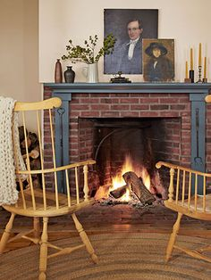 The Windsor chairs are from a vintage store in Hudson, New York. The throw is from Loopy Mango. #countryliving #fireplaces