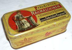 Alte Blechdose Dose Reklame Werbung Kayser Nähmaschinen Pfaff Kaiserslautern RAR
