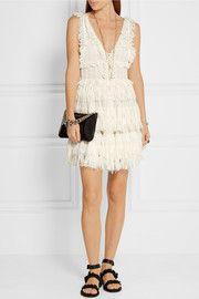 Tiered distressed lace mini dress