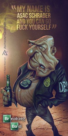 DEA Agent Hank Schrader - Breaking Bad Caricature Art by Illustrator and caricaturist Anthony Geoffroy Breaking Bad Tv Series, Breaking Bad 3, Bad Fan Art, Bad Art, Hank Schrader, Creation Art, Anne With An E, Funny Caricatures, Dark Images
