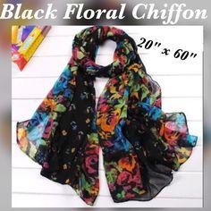 "Black Chiffon Scarf With Floral Print, 60"""" X 20"""""