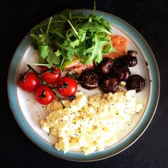 Lunchtime. Scrambled eggs, smoked salmon, rocket