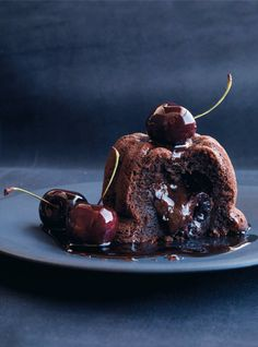 Chocolate cherry fondant cake