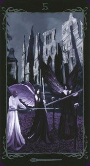 """The Dark Angels Tarot is a gothic tarot focusing on heaven's outcast angels. """"Achingly beautiful, mysterious, and undoubtedly wise, these unearthly creatures have much to teach us of our own shadow selves. Tarot Card Decks, Tarot Cards, Angels And Demons, Dark Angels, Five Of Wands, Gypsy Fortune Teller, Le Tarot, Dark Fairytale, Tarot Spreads"""