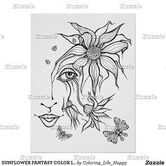 SUNFLOWER FANTASY COLOR IT YOURSELF POSTER 18x24