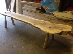 Walnut and oak bench . Still to oil and wax now sold