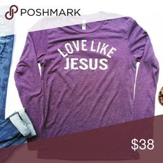 Love Like Jesus Long-sleeve Softest tee! Always the best quality  Unisex sizing - loose fit for women, so size down for a fitted look. No trades. Kyoot Klothing Tops