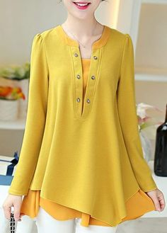 Long Sleeve Yellow Asymmetric Faux Two Piece Blouse on sale only US$26.85 now, buy cheap Long Sleeve Yellow Asymmetric Faux Two Piece Blouse at lulugal.com