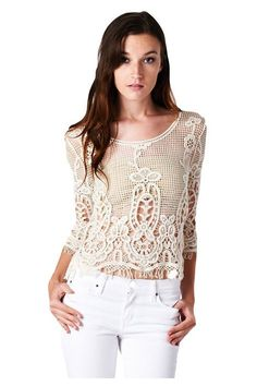 "- Graceful new trendy sheer crochet knit to crop top - 3/4 Sleeve, Boat neck line - 100% Cotton, Unlined - Length :17"" Bust: 15"" Sleeve:11"" Waist: 18"" Sheer stripes offer bare-skin appeal to this vint"