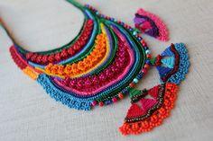 beaded freeform crochet necklace