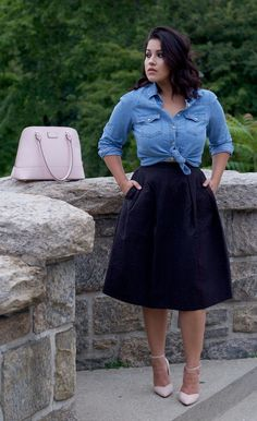 this skirt -a little shorter (at knee) and a lighter color. Wear with flats and cropped cardigan or blouse tucked in?