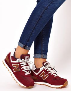 new balance 574 sonic burgundy trainers at asos