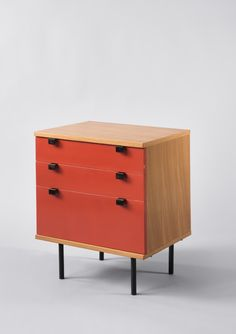 Superbe Alain Richard; #219 Elm And Enameled Metal Chest Of Drawers, 1954.