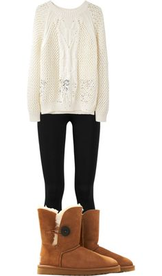 White sweater, leggings, Uggs. It's a you really need to be a comfy winter cutie!