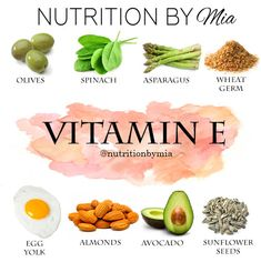Nutrient Series: Vitamin E - Nutrition By Mia Health Diet, Health And Nutrition, Health And Wellness, Health Fitness, Vitamins For Skin, Health Vitamins, Foods With Vitamin E, Benefits Of Vitamin A, After Workout Food